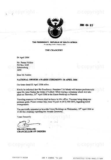 NFC_C1073: Letter: From Frank Chikane to Prema Naidoo