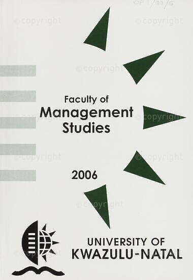 University of KwaZulu-Natal, Faculty of Management Studies Handbook 2006