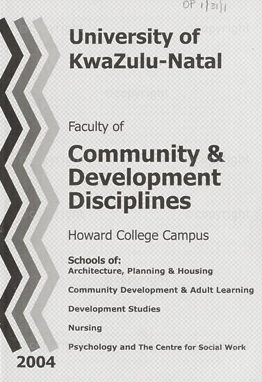 University of KwaZulu-Natal, Faculty of Community and Development Disciplines Handbook 2004