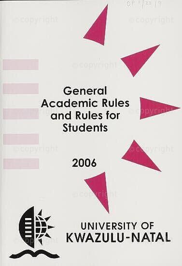 University of KwaZulu-Natal Rules Handbook 2006