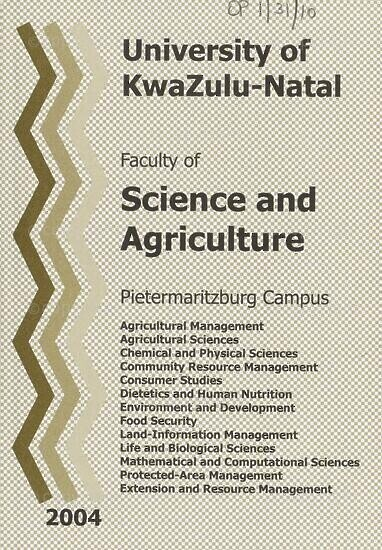 University of KwaZulu-Natal, Faculty of Science and Agriculture Handbook 2004