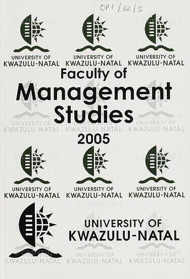 University of KwaZulu-Natal, Faculty of Management Studies Handbook 2005