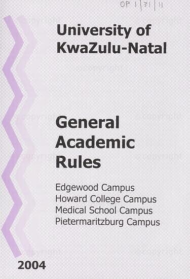 University of KwaZulu-Natal General Academic Rules Handbook 2004