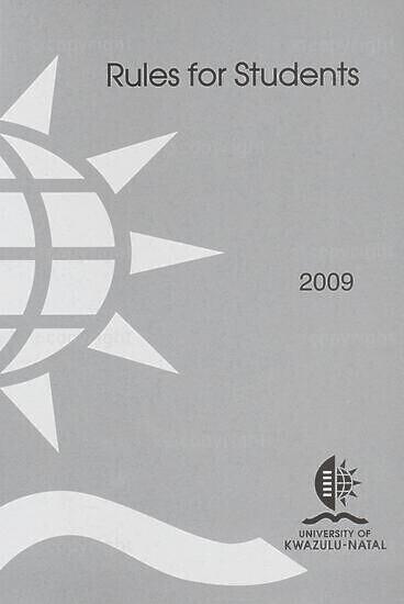 University of KwaZulu-Natal Rules Handbook 2009