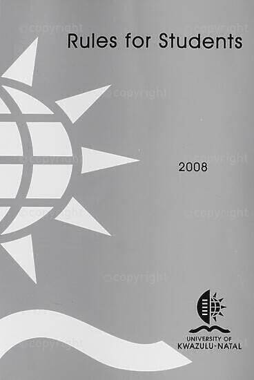 University of KwaZulu-Natal Rules for Students Handbook 2008