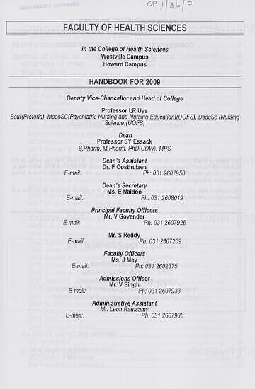 University of KwaZulu-Natal, Faculty of Health Sciences (Westville campus) Handbook 2009
