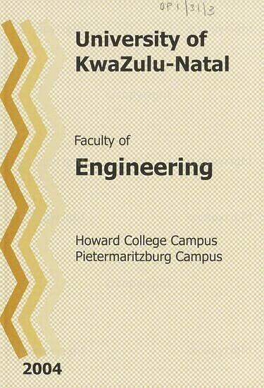 University of KwaZulu-Natal, Faculty of Engineering Handbook 2004