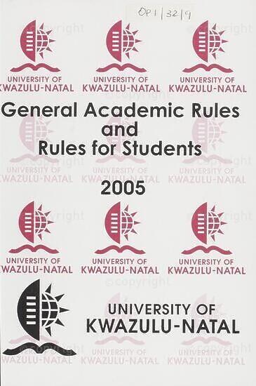 University of KwaZulu-Natal Rules Handbook 2005