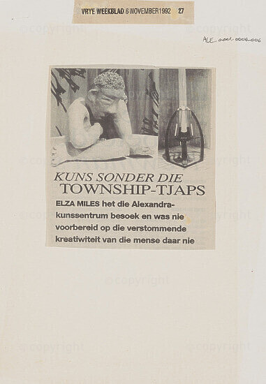 Kuns Sonder Die Township-Tjaps [and related document]