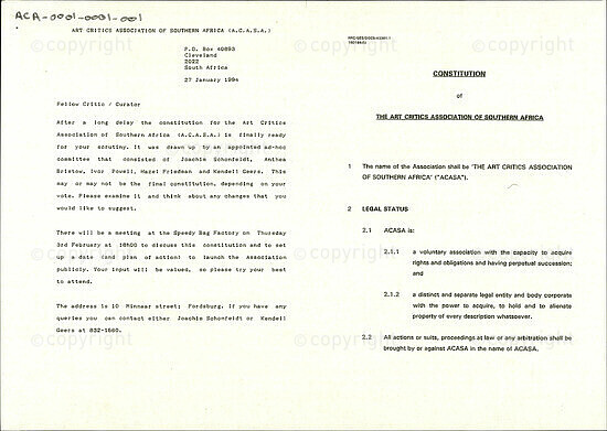 Constitution of The Art Critics Association of Southern Africa [and related documents]