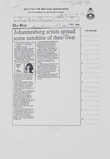 Johannesburg artists spread some sunshine of their own [and related document]
