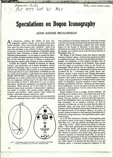 Speculations on Dogon Iconography