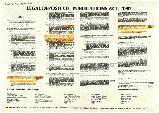 Legal Deposit of Publications Act, 1982