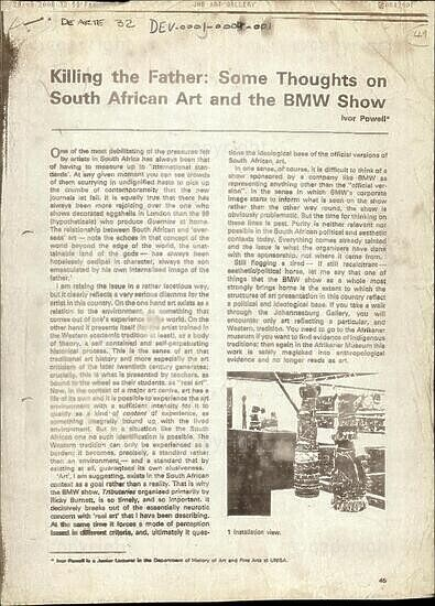 Killing the Father: Some Thoughts on South African Art and the BMW Show [and related documents]