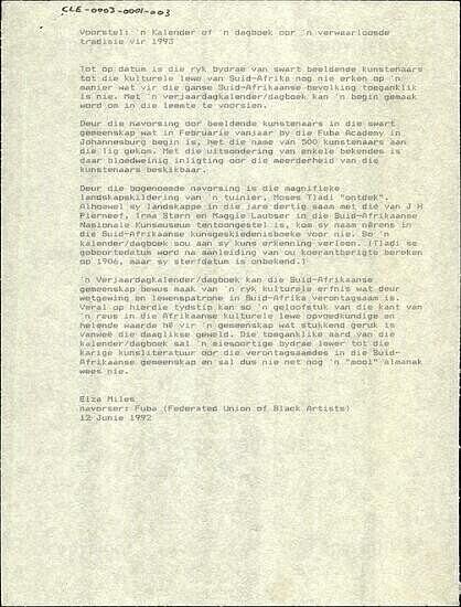Voorstel: 'n Kalender of 'n dagboek oor 'n verwaarloosde tradisie vir 1993