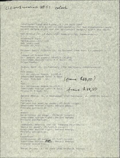Catalogue: Land and lives, 5-15 July 1993
