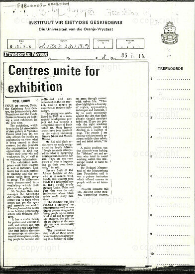 Centres unite for exhibition [and related documents]