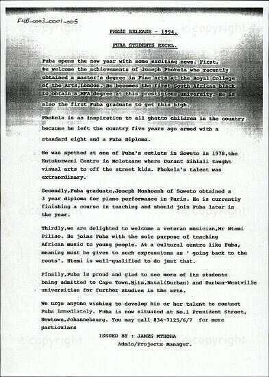 Press Release -  1994 / FUBA Students Excel