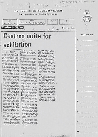 Centres unite for exhibition [and related document]