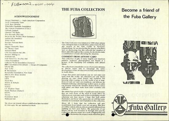 The FUBA Collection / Become a friend of the Fuba Gallery
