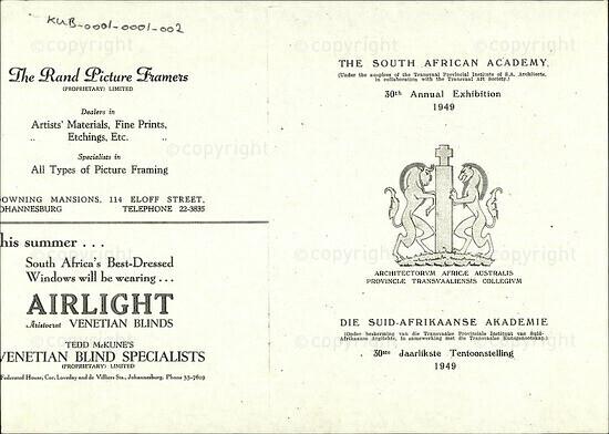 The South African Academy 30th Annual Exhibition 1949 / Die Suid-Afrikaanse Akademie 30ste Jaarlikste Tentoonstelling 1949