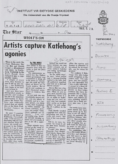 Artists capture Katlehong's agonies [and related document]