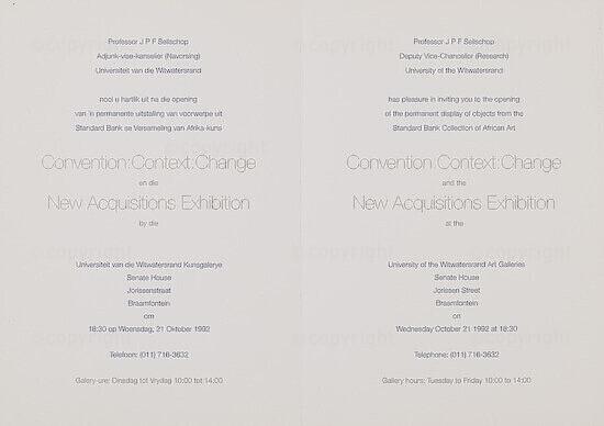 Convention: Context: Change en die New Acquisitions Exhibition / Convention: Context: Change and the New Acquisitions Exhibition