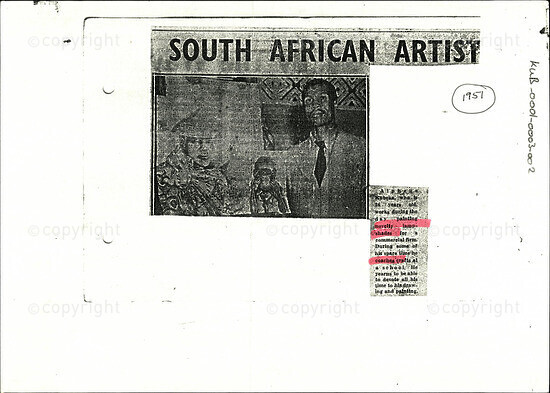 South African Artist [and related document]