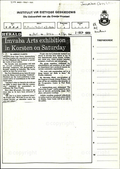 Imvaba Arts exhibition in Korsten on Saturday [and related documents]