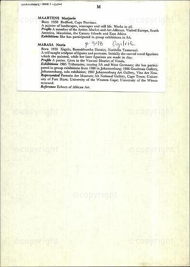 Maartens Marjorie / Mabasa Noira [and related document]